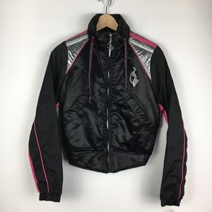 NWT Black Baby Phat Embroidered Bomber Jacket S